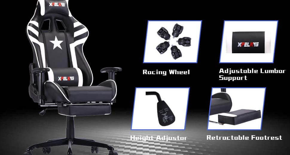 Adjustable Swivel Gaming Chair with Footrest
